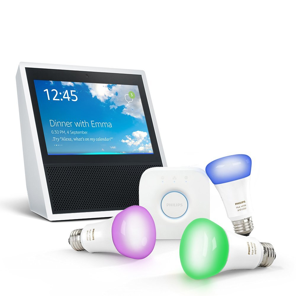 Philips Hue Starter Kit E27 Amazon Echo Show White Philips Hue White And Colour Ambiance