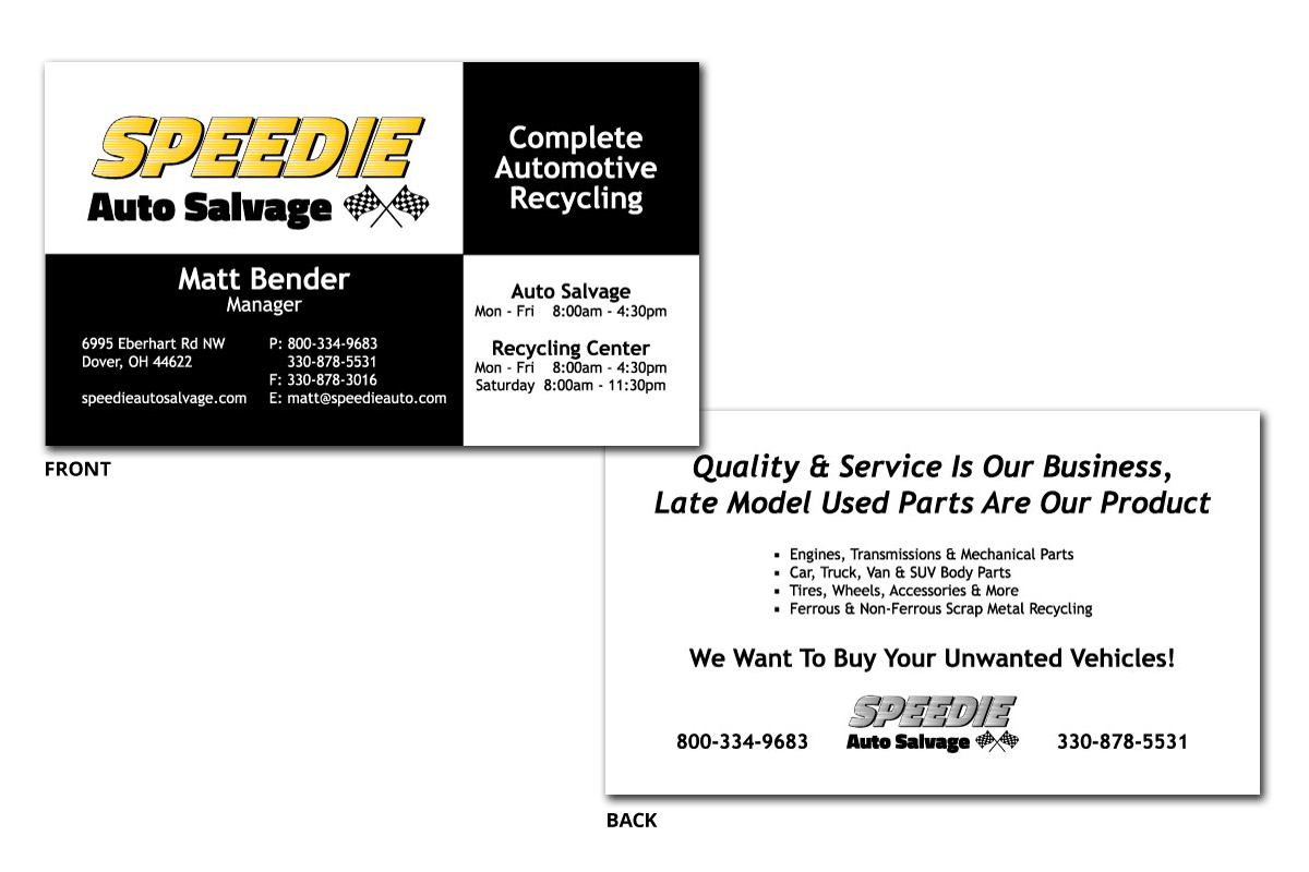 Speedie Auto Salvage business cards, front and back