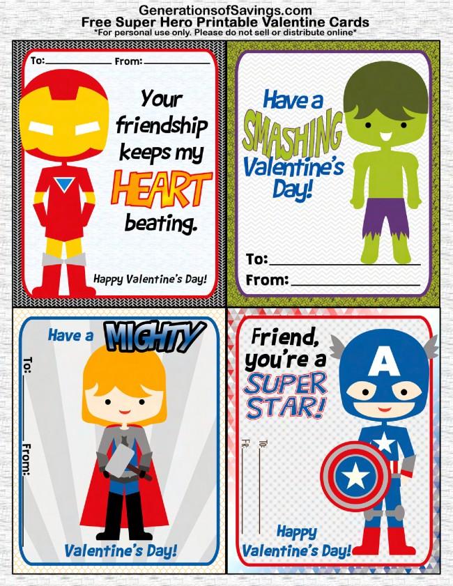 FREE Printable Superhero Valentine\u0027s Day Cards - Kat Balog