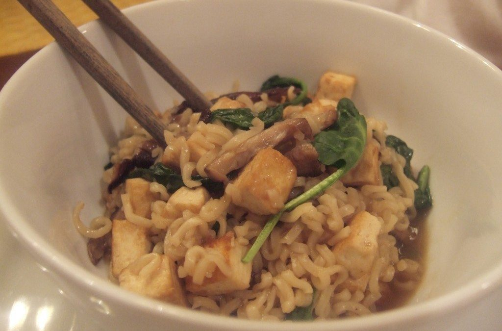 Off Topic: Hot and Sour Ramen with Tofu, Shiitakes and Spinach