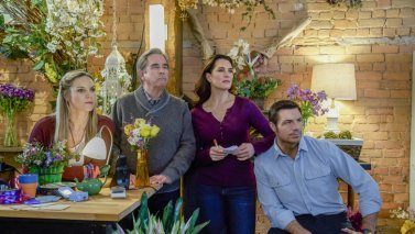 Photo: Kate Drummond, Beau Bridges, Brooke Shields, Brennan Elliot, Snipped in the Bud PHOTO CREDIT: Crown Media