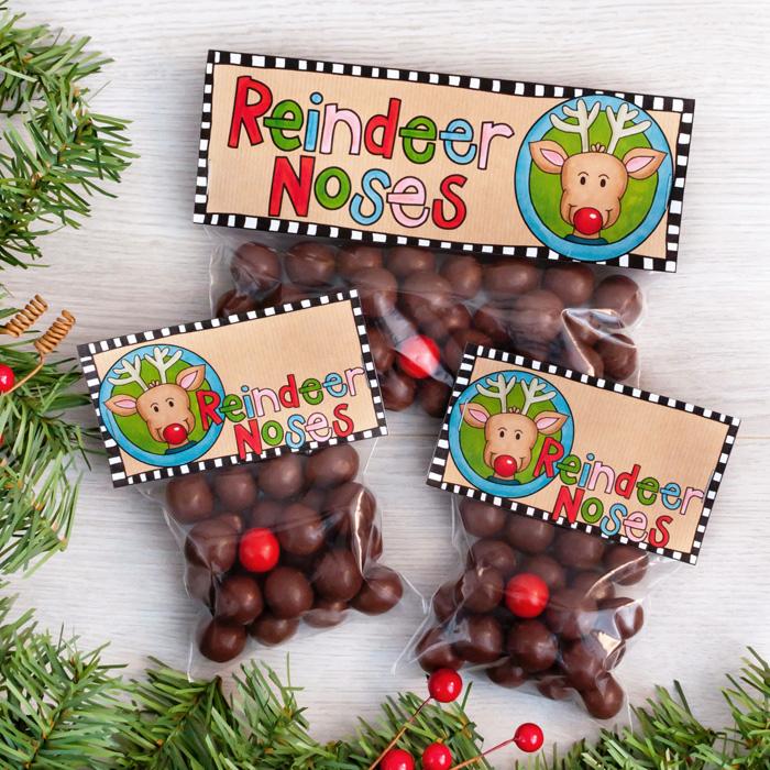 Reindeer Noses printable Christmas bag toppers - Kate Hadfield Designs