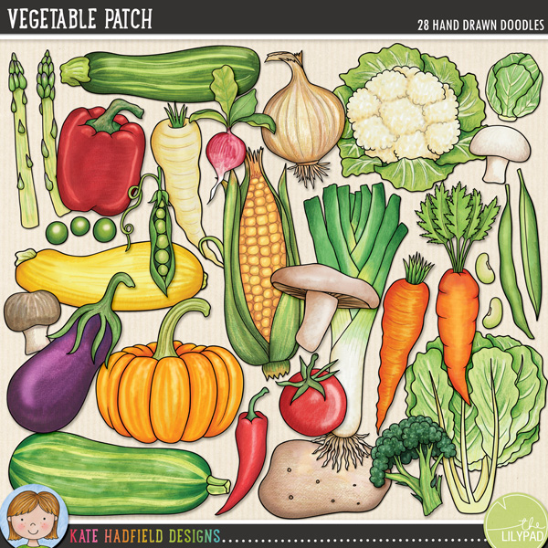 Vegetable Patch doodles by Kate Hadfield Designs