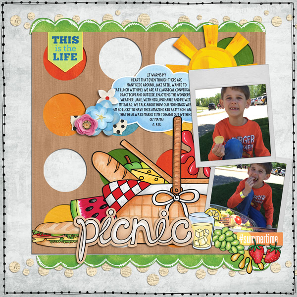 Kate Hadfield Designs creative team Al Fresco ~ Digital scrapbook layout by Rebecca