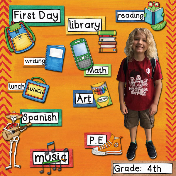 """Kate Hadfield Designs Creative Team """"Back to School"""" favourites: Layout by Jenni"""