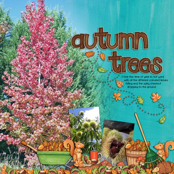 "Kate Hadfield Designs Creative Team ""Autumn & Fall"" Favourites: Digital scrapbook layout by Kirstie"