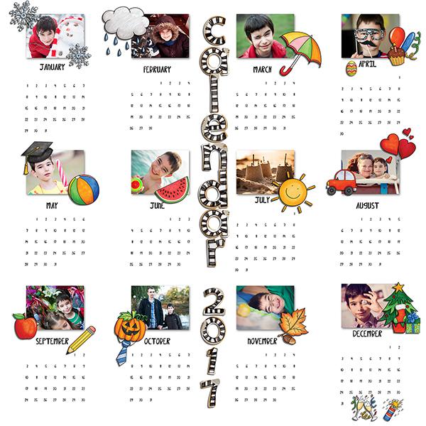"Kate Hadfield Designs Creative Team inspiration: ""Calendar Year"" | Digital scrapbook layout by Iva"