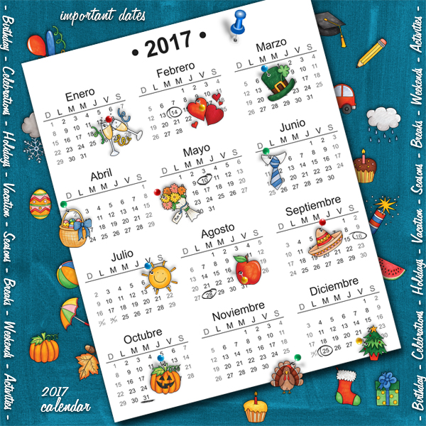 "Kate Hadfield Designs Creative Team inspiration: ""Calendar Year"" | Digital scrapbook layout by Karen"