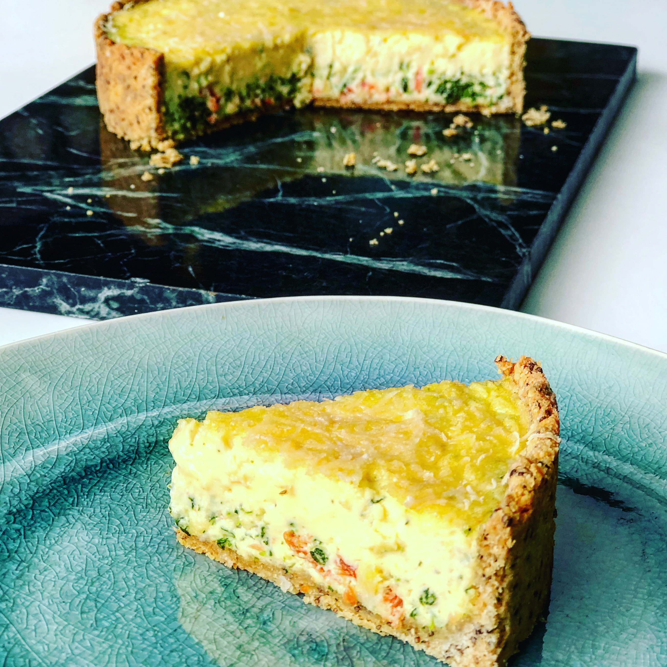 Protein Kuchen Low Carb Salmon Spinach Tart With Low Carb Pie Crust Kate Henry