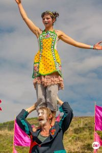 Michael Ritchie and Fiona Oliver- as Alice and Joker at Knockengorroch Festival