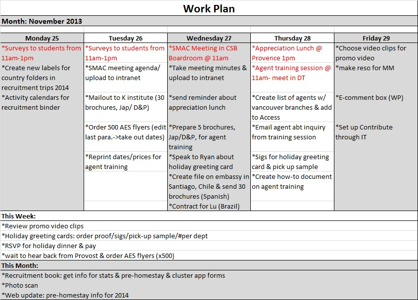 Sample Work Plans Kate Kim
