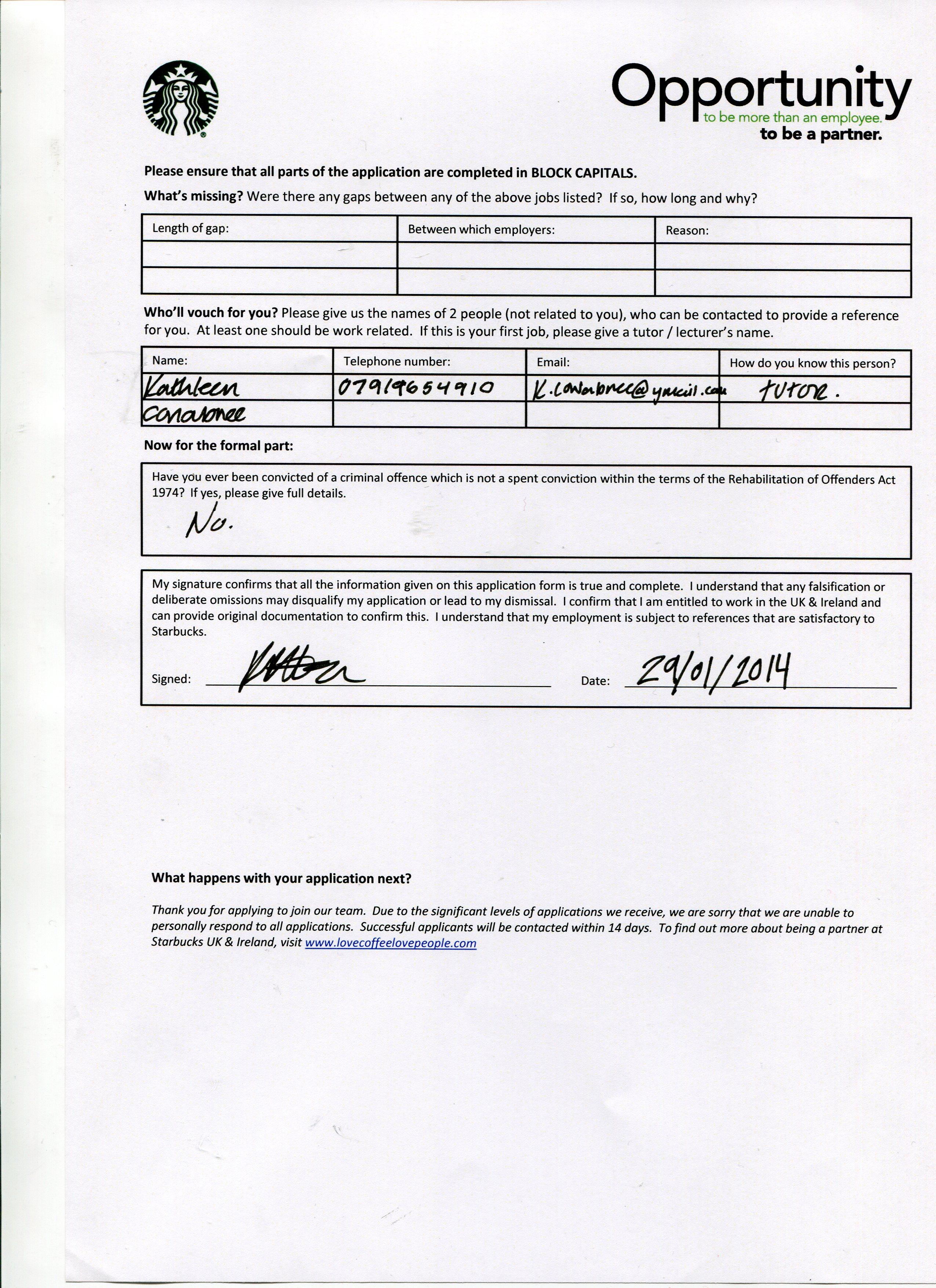 jobs application form