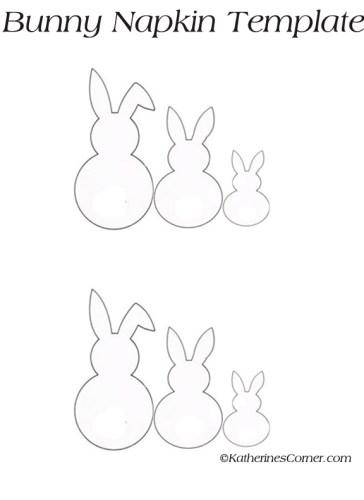 bunny napkin template for easter napkins katherines corner