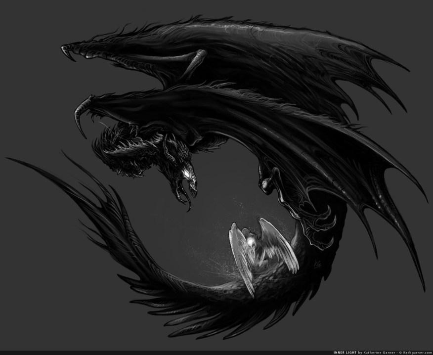 Evil dragon demon and angel