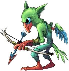 Green forest goblin bird