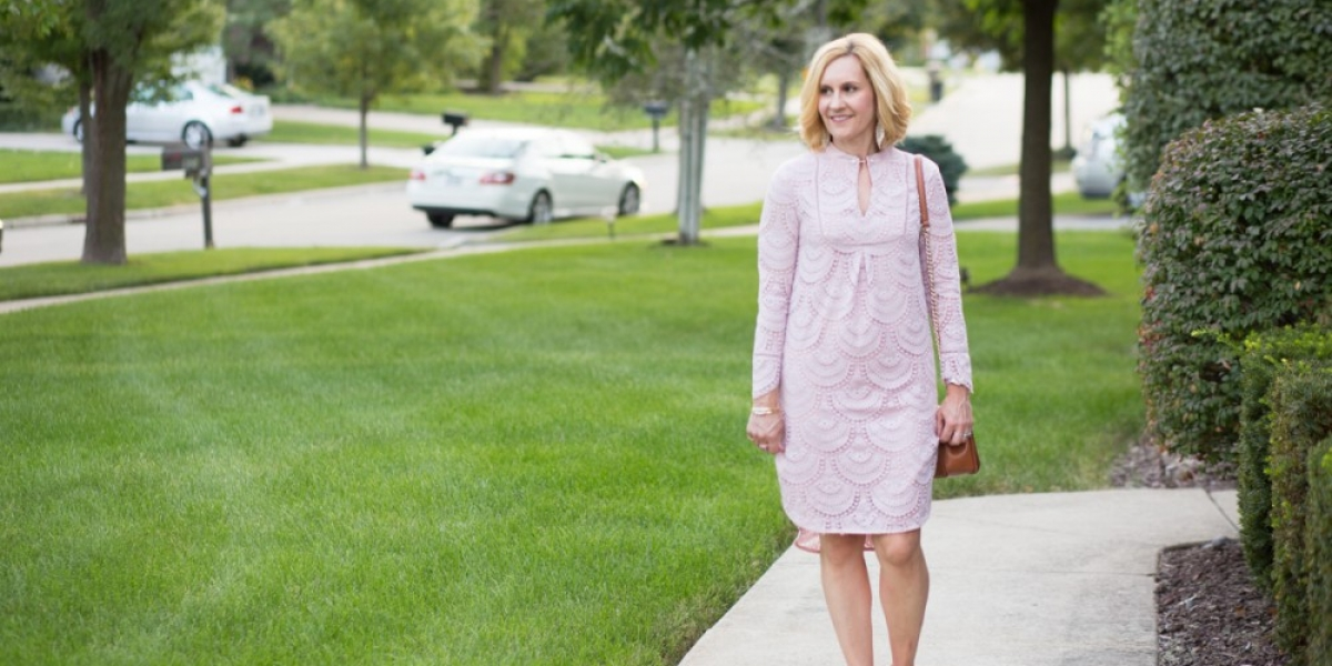 Sharing a pink lace dress with a Victorian vibe from VIPme.