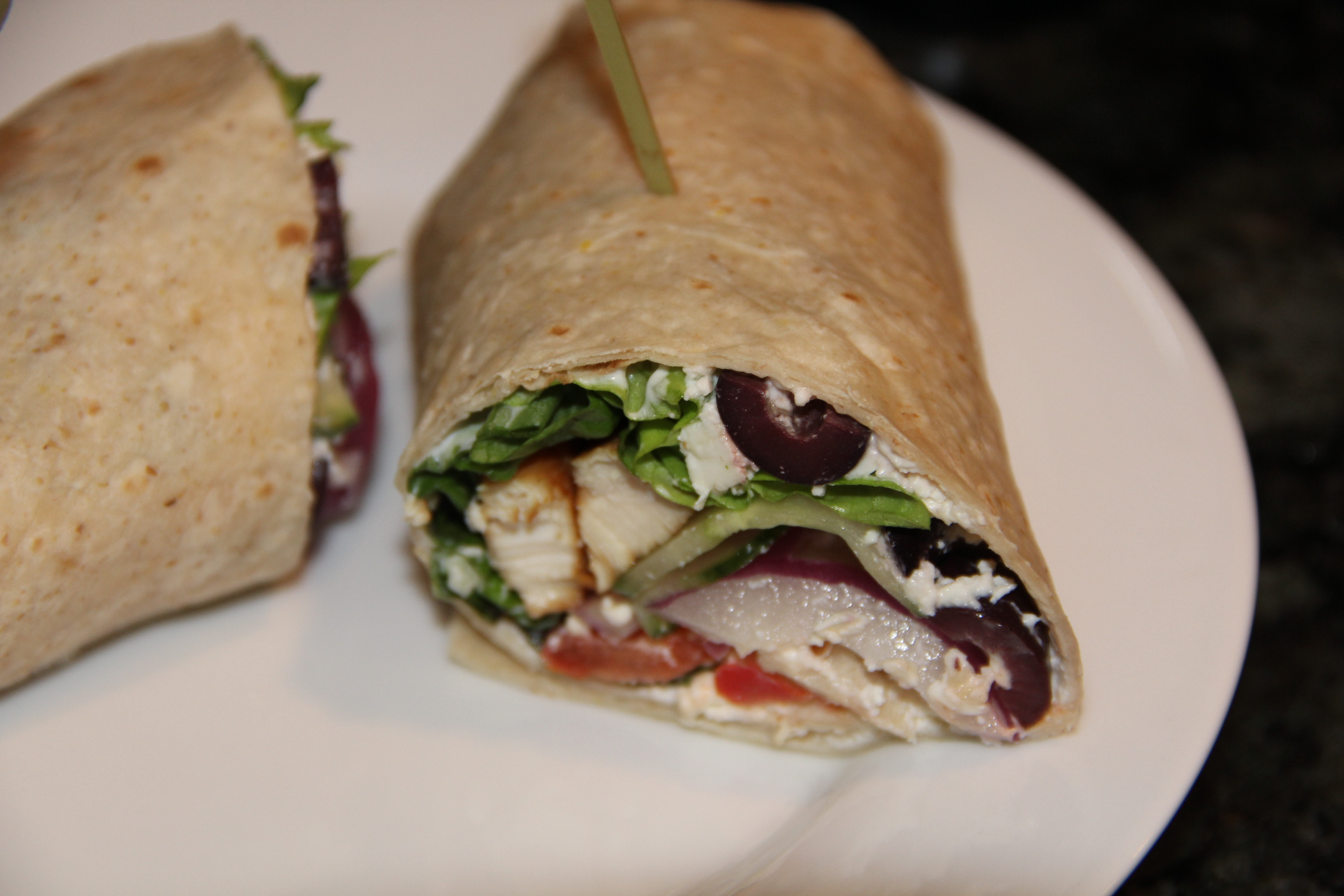 How To Make An Easy Kitchen Island Greek Grilled Chicken Wrap | Kath's Kitchen Sync