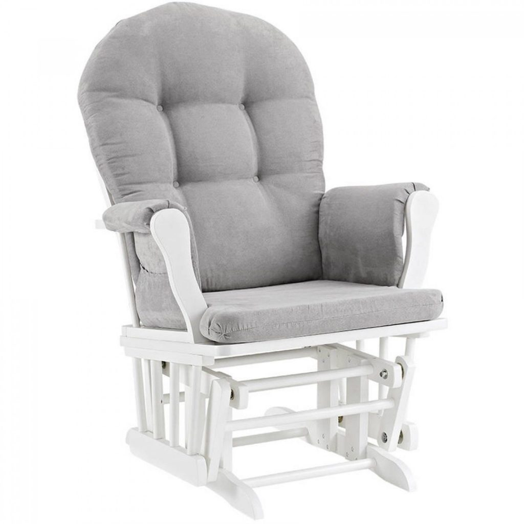 Baby Rocker Bed Glider And Ottoman Set White Finish Gray Cushions Nursery