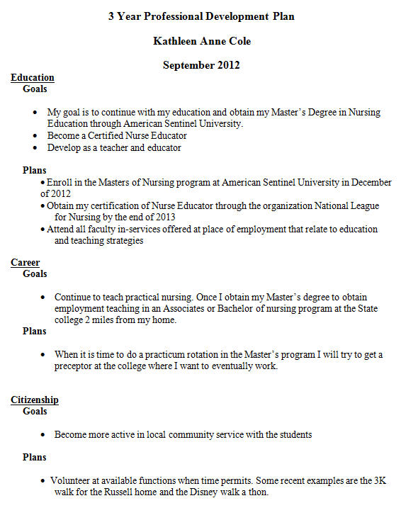 PROFESSIONAL DEVELOPMENT PLAN - Kathleen Cole BSN, RN