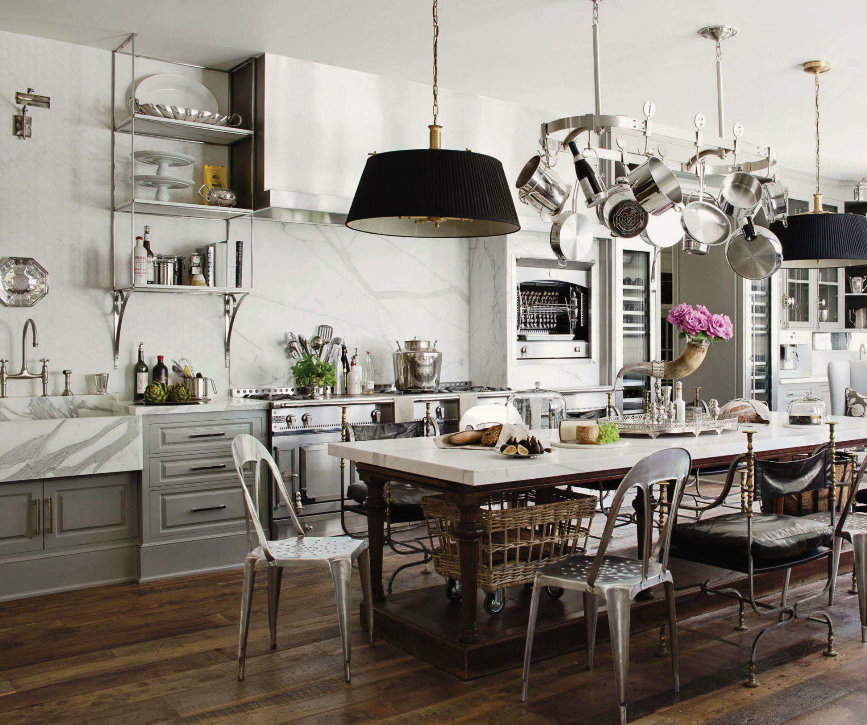 Cucina Shabby Piccola French Industrial Country Kitchen | Kathy Kuo Blog | Kathy