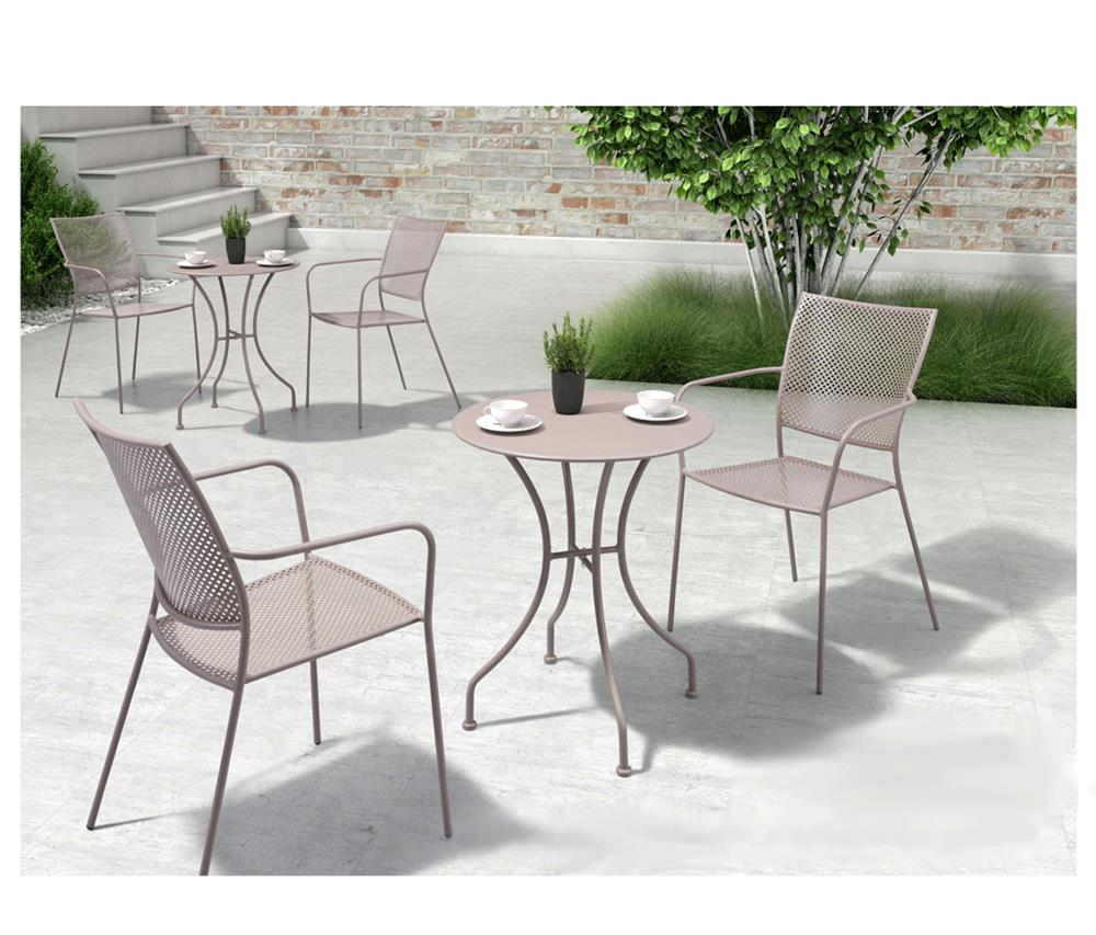 Round Patio Furniture Ollie French Country Steel Round Outdoor Bistro Table