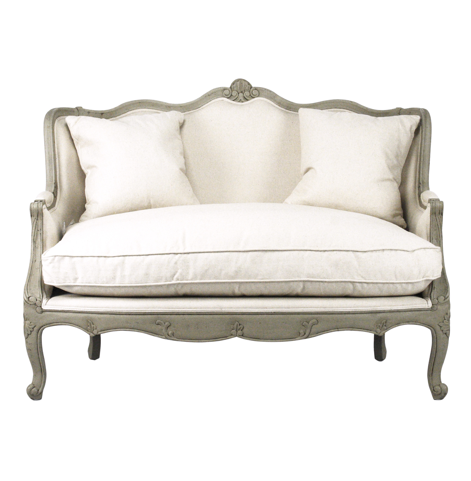 Green Settee Adele French Country Distressed Sage Green And White