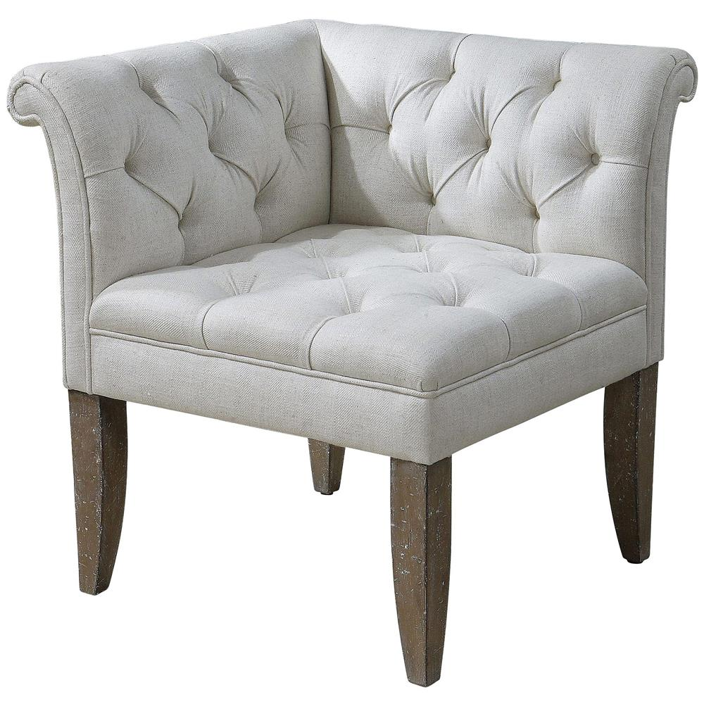 Garden Furniture Corner Sofa Ebay Trenton French Country Tufted Beige Linen Corner Chair