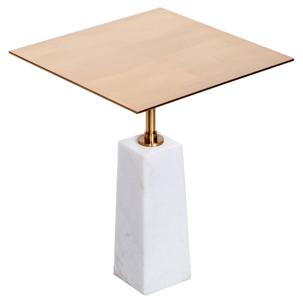 Classic Table Shapes Interlude Beck Modern Classic White Marble Brass Square Side Table