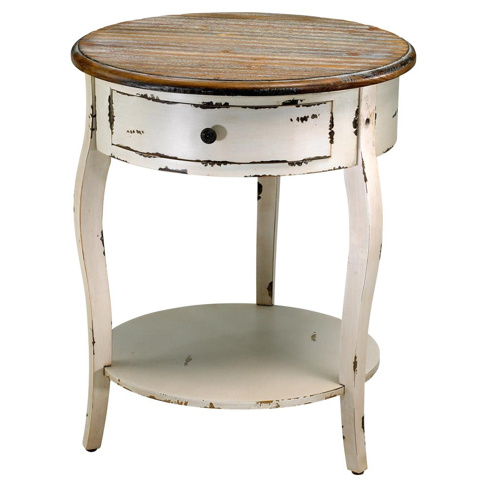 Rustic Wood End Table Olevi French Rustic Ivory Round Wood End Table
