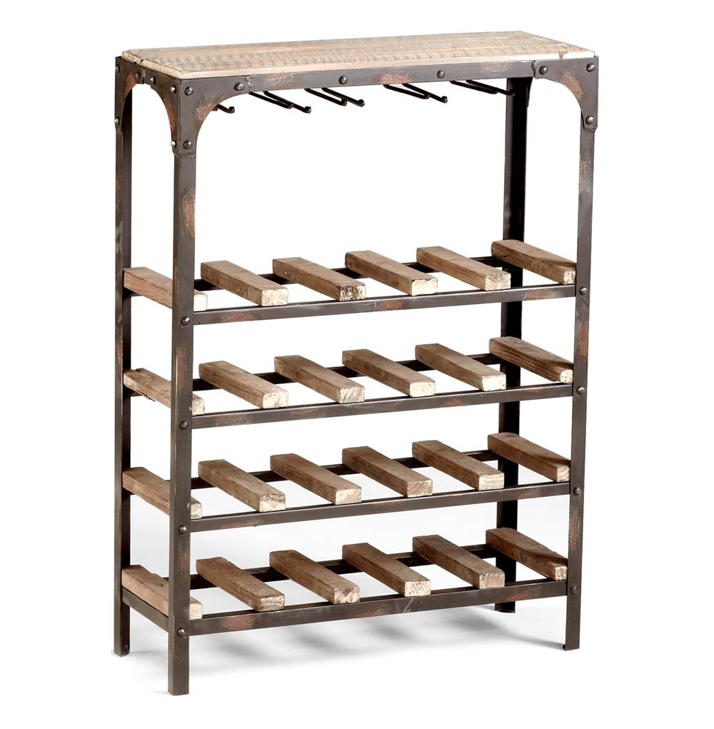 Metal Wine Racks Gallatin Industrial Metal Rustic Wood Narrow Console Wine Rack