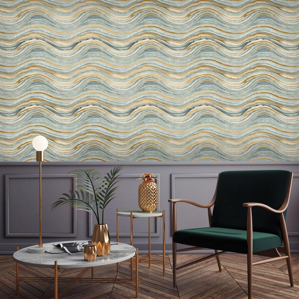 Metallic Gold Wallpaper Blue And Metallic Gold Wave Coastal Beach Removable Wallpaper