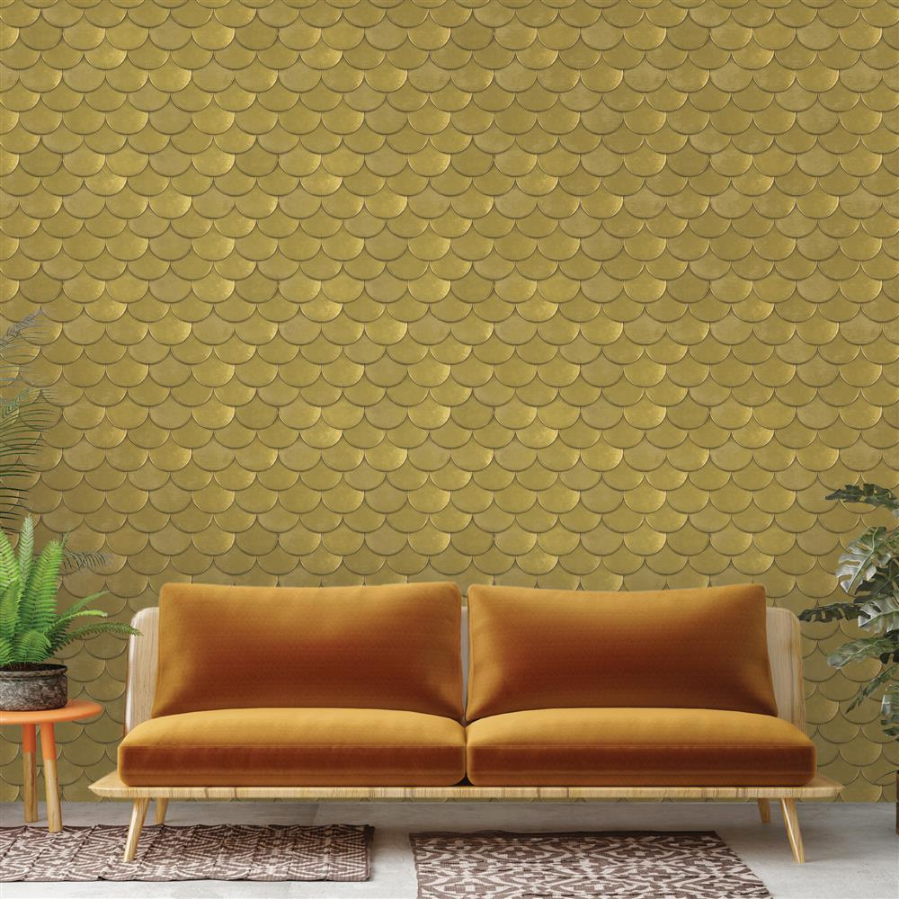 Metallic Gold Wallpaper Metallic Gold Roof Slate Removable Wallpaper
