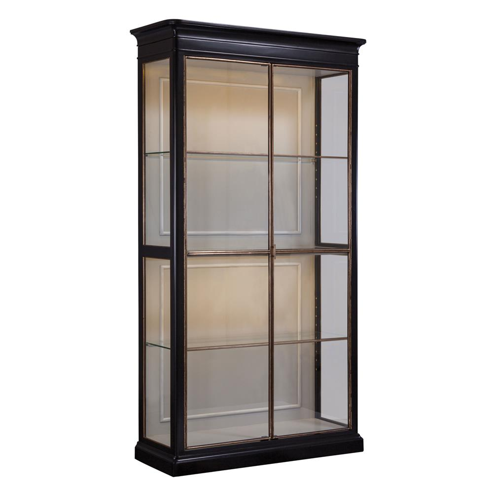 Home Salon Rennes Rennes French Country Classic High Gloss Black Glass Walnut Etagere