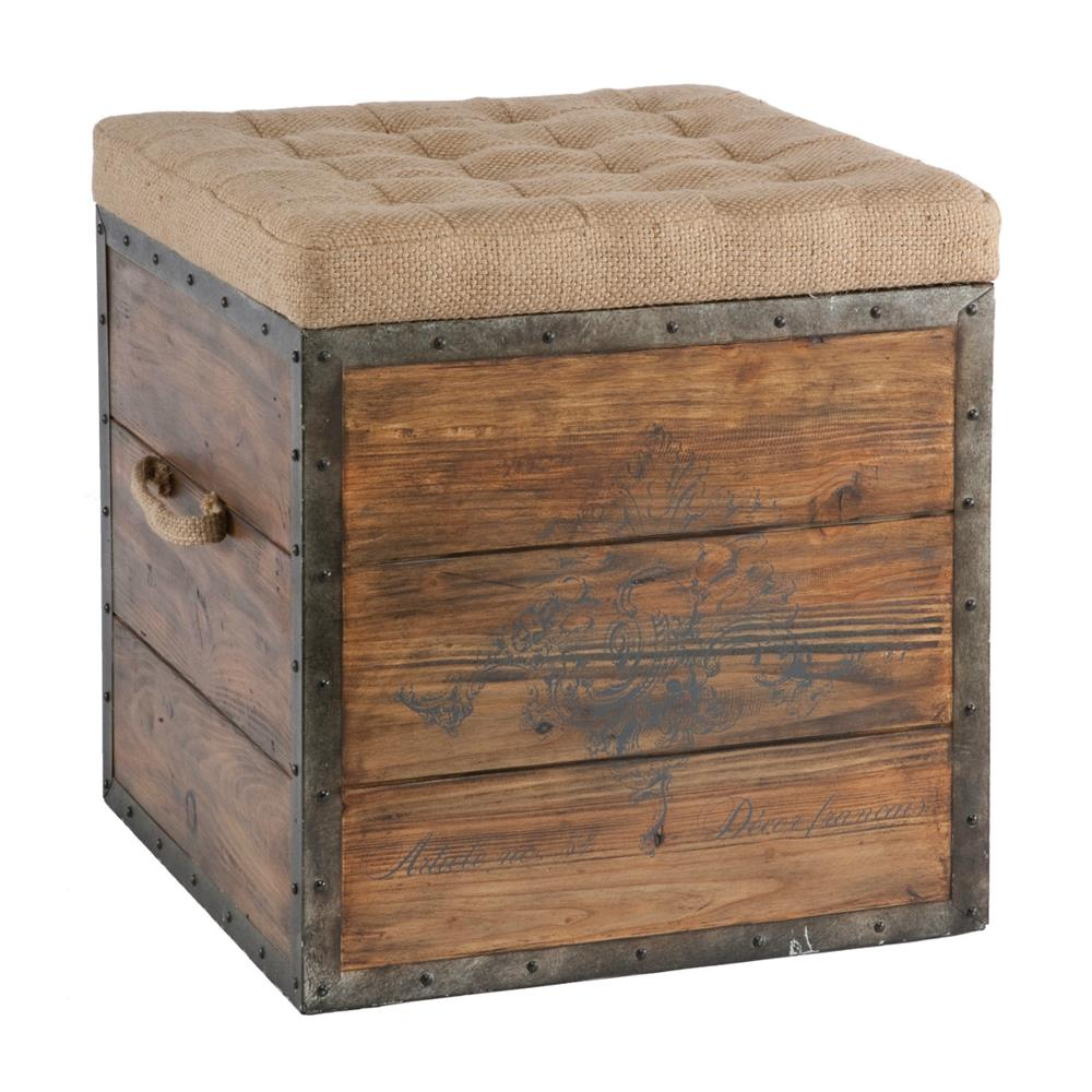 Ottoman French Country Wood Crate Burlap Top Cube Ottoman | Kathy