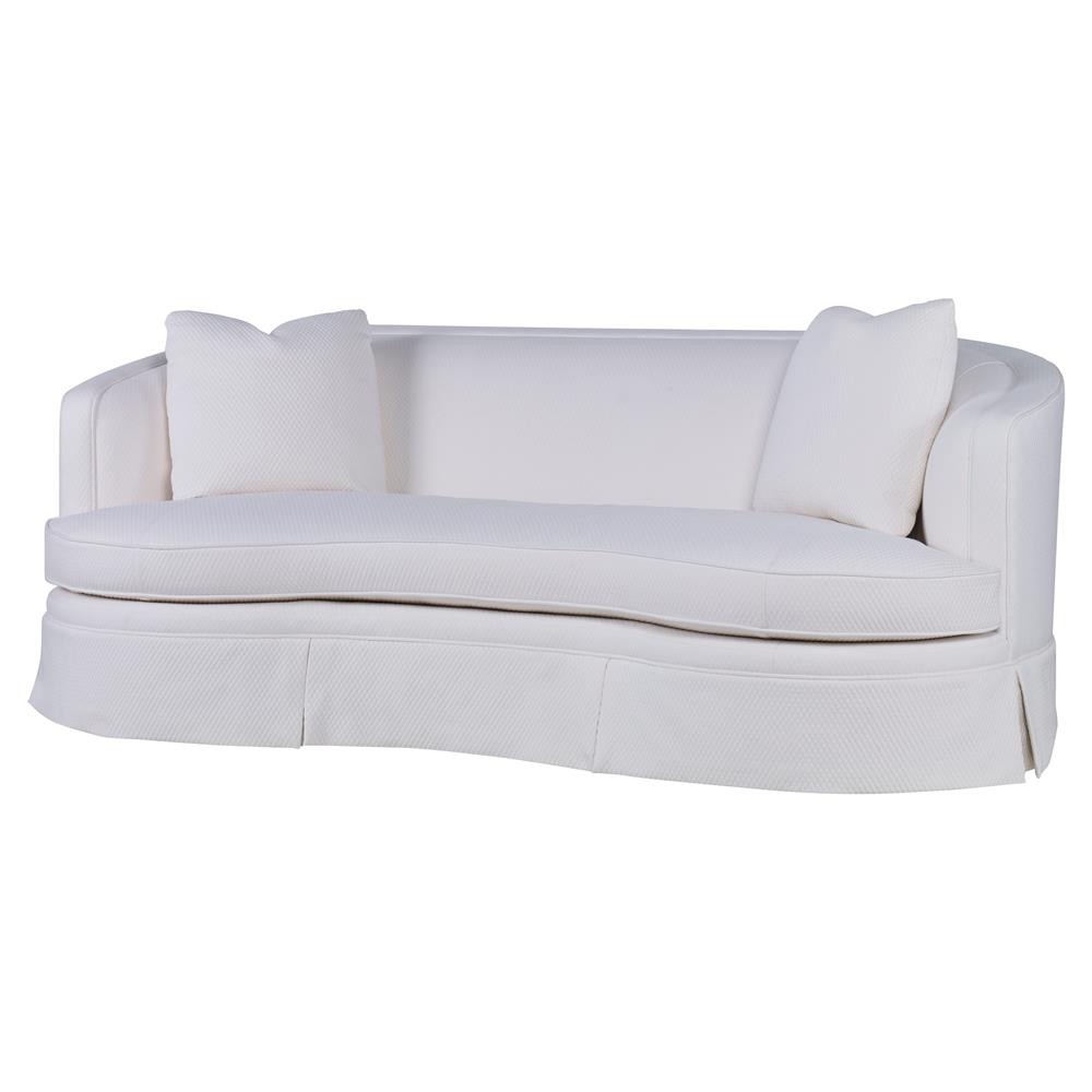 Curved Sofa Highland House Rafa Modern White Cotton Feather Down Skirted Curved Sofa