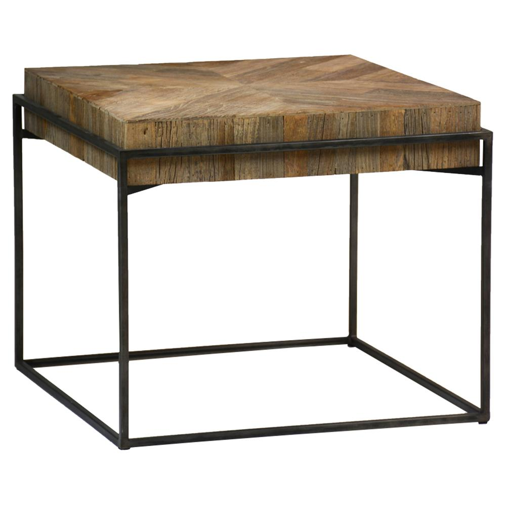 Coffee And Side Tables Cynthia Industrial Rustic Reclaimed Wood Top Square Metal Coffee Side Table