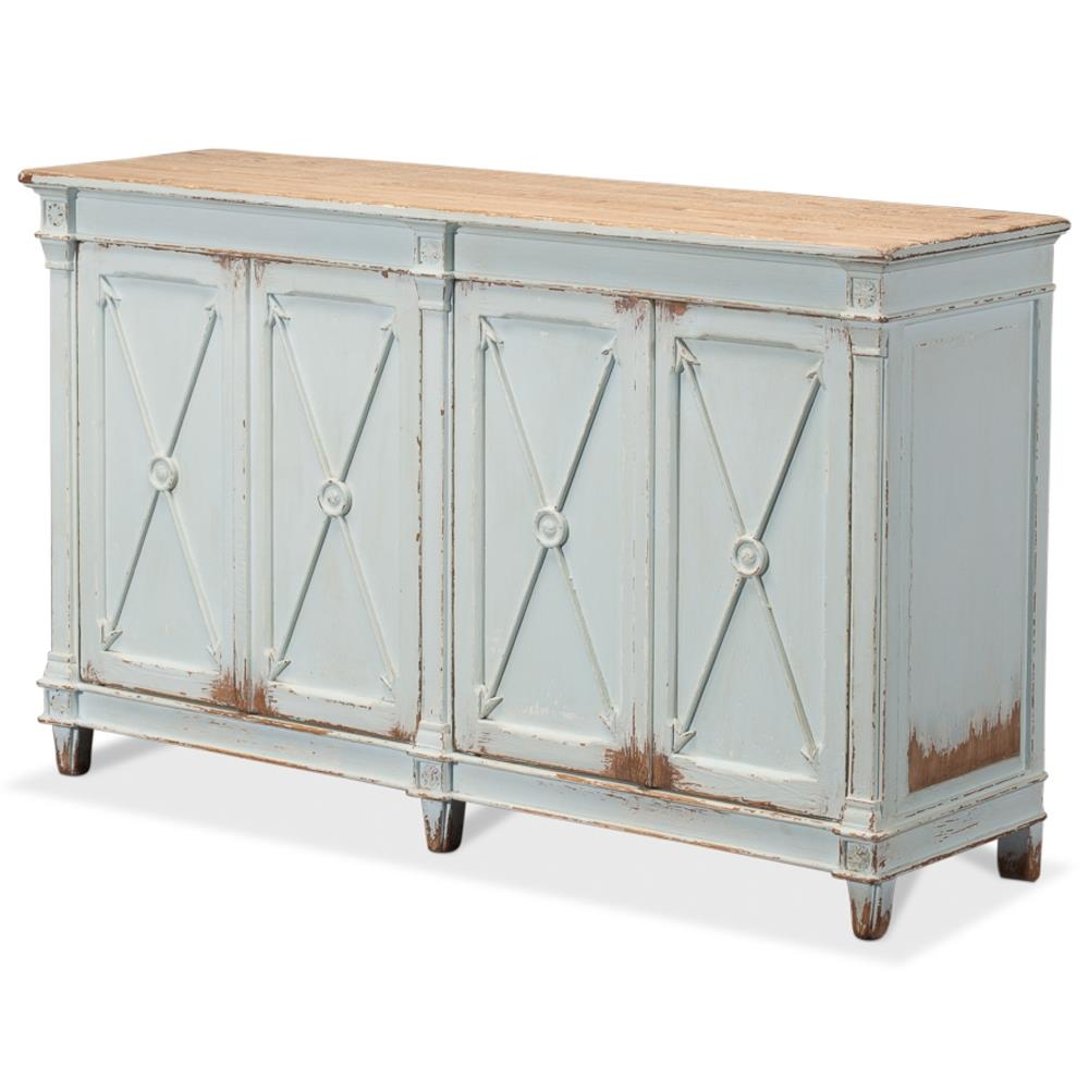 Buffet Sideboard Blue Talia Rustic French Antique Soft Blue Pine Wood Buffet Sideboard