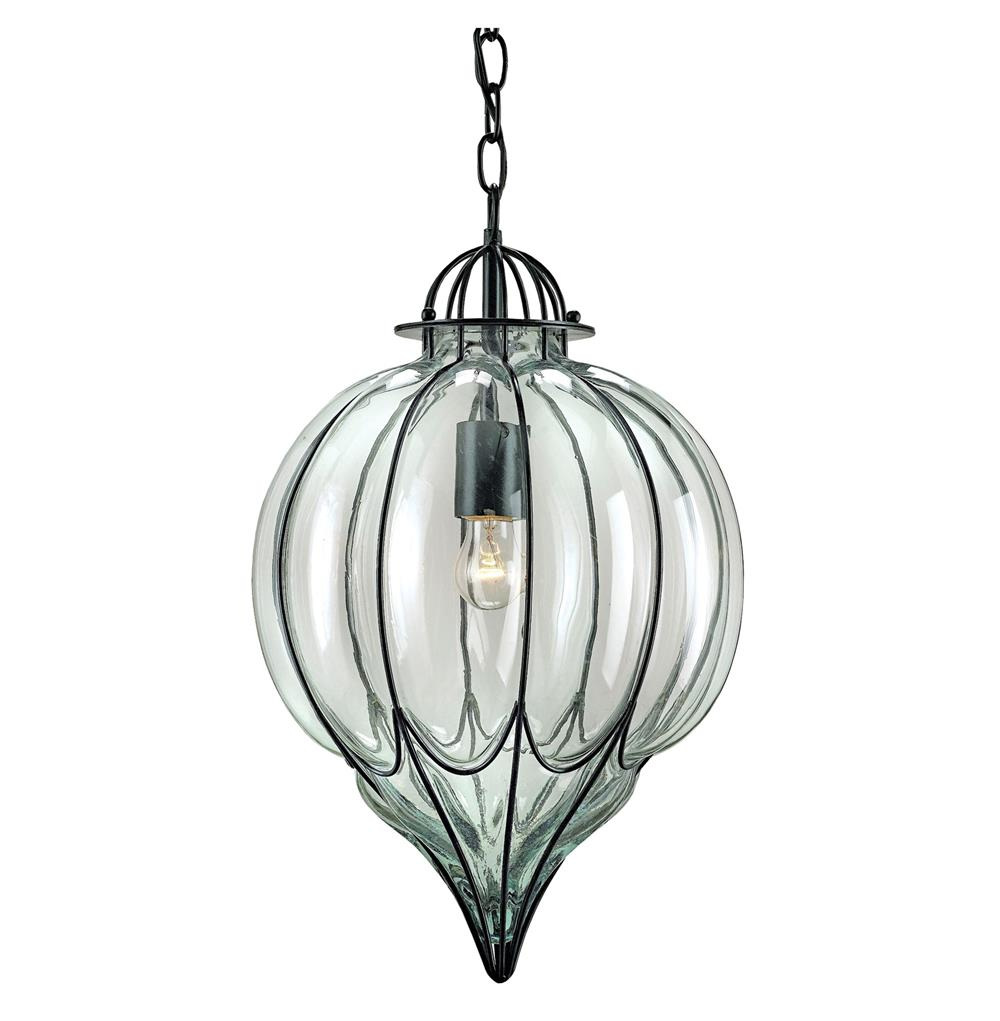 Blown Glass Pendant Lights Omar Satin Black Blown Glass 1 Light Pendant | Kathy Kuo Home