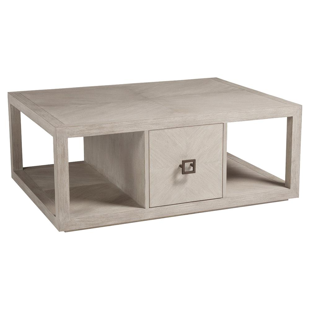 Credence Decorative Artistica Credence Modern 2 Drawer Whitewash Wood Rectangular Coffee Table