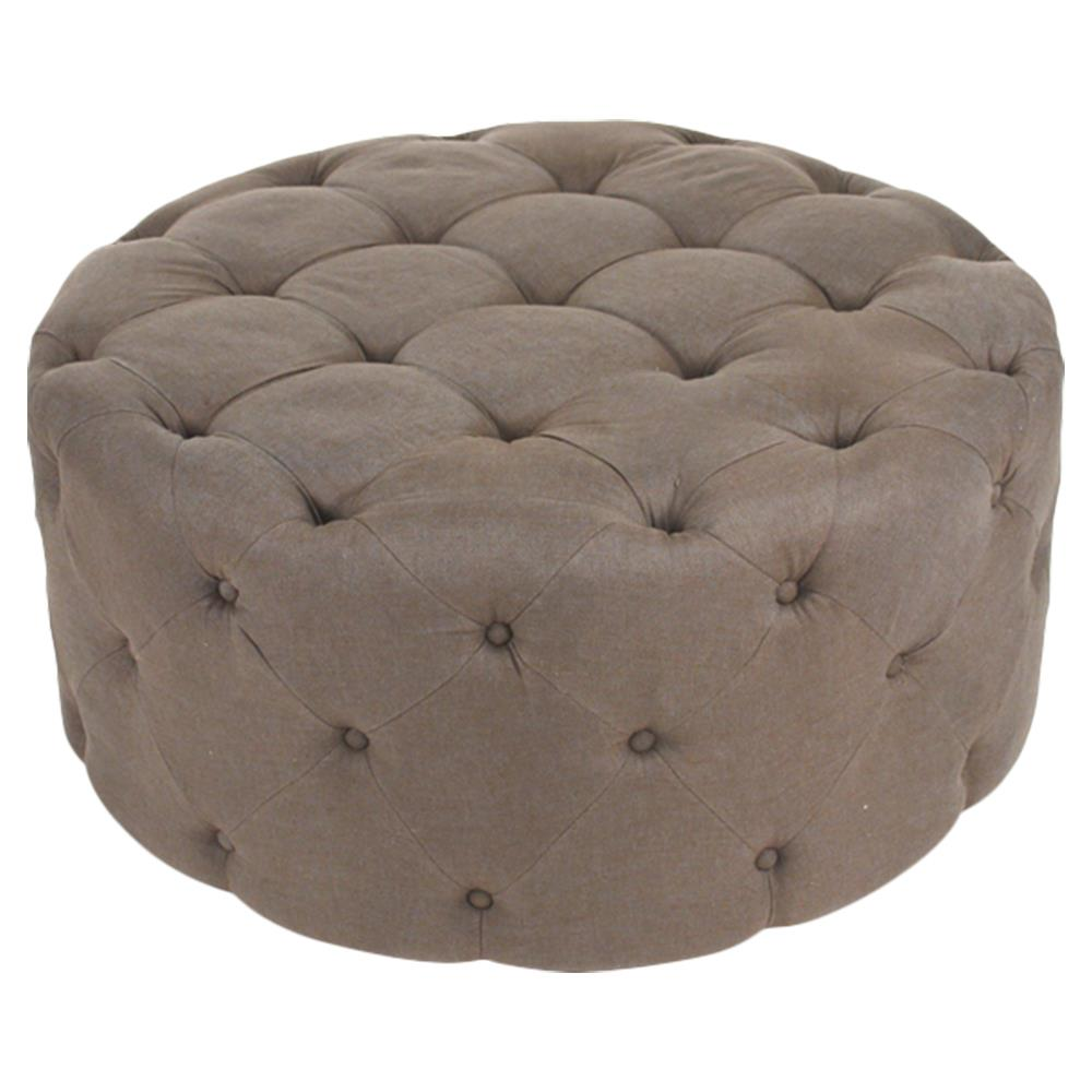 Ottoman Amalia French Country Brown Linen Button Tufted Ottoman
