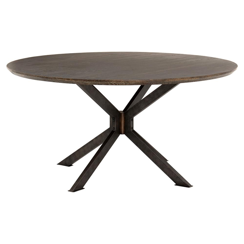 Round Oak Dining Table Samuel Modern Classic Rustic Black Spider Legs Dark Round Oak Dining Table 60d