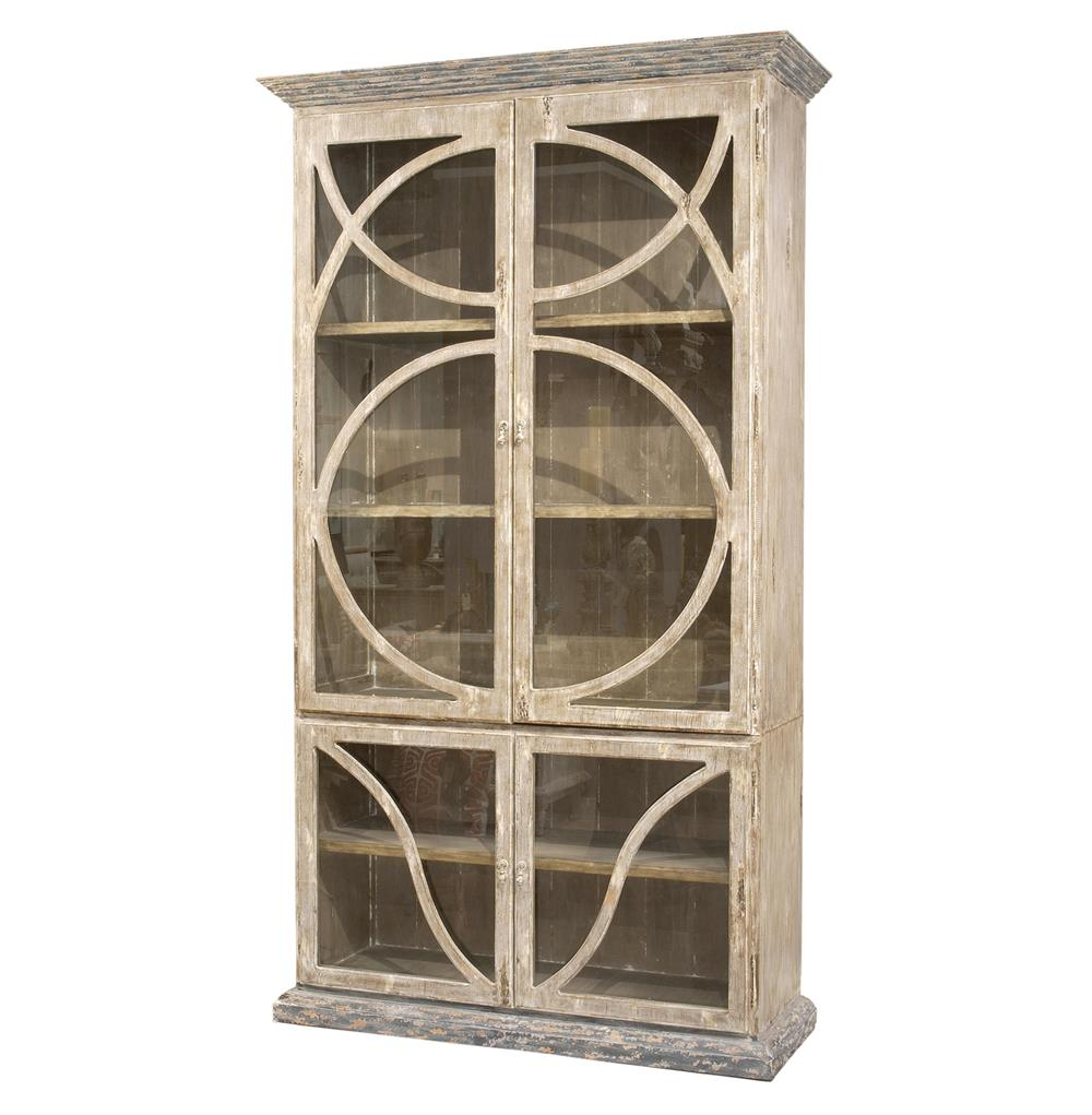 Vitrine Modern French Country Taupe Oak Reclaimed Wood Cabinet Vitrine