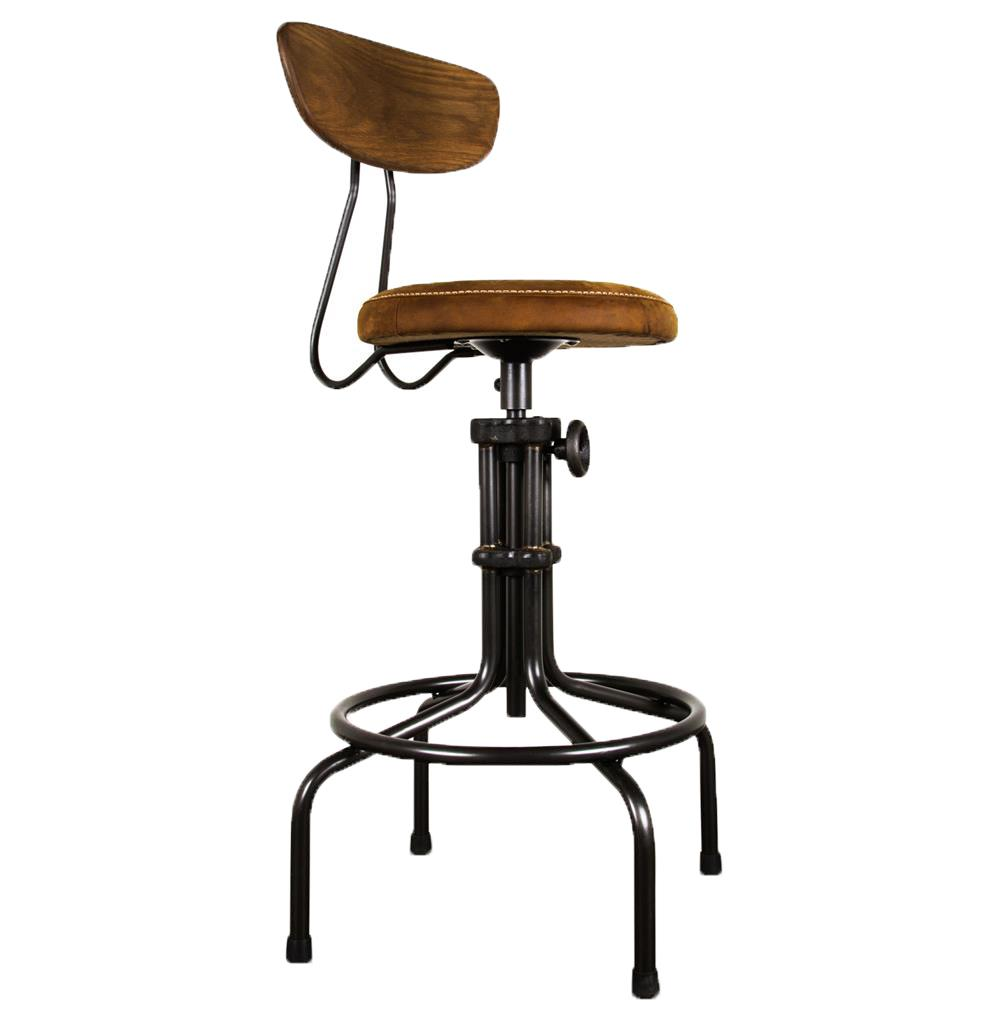 Table And Bar Stools Brexton Industrial Loft Adjustable Oak Leather Cushion Counter Bar Stool
