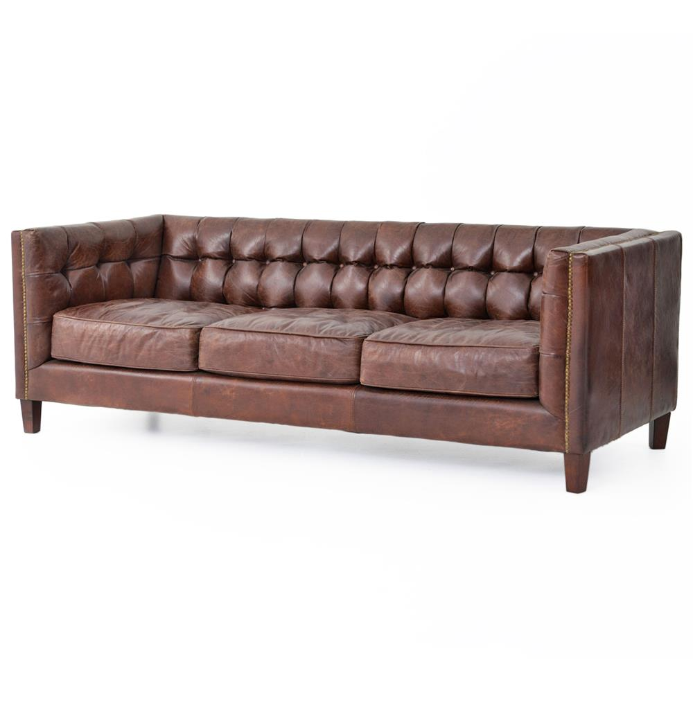 Brown Real Leather Couch Christopher Rustic Lodge Tufted Straight Back Brown Leather Sofa