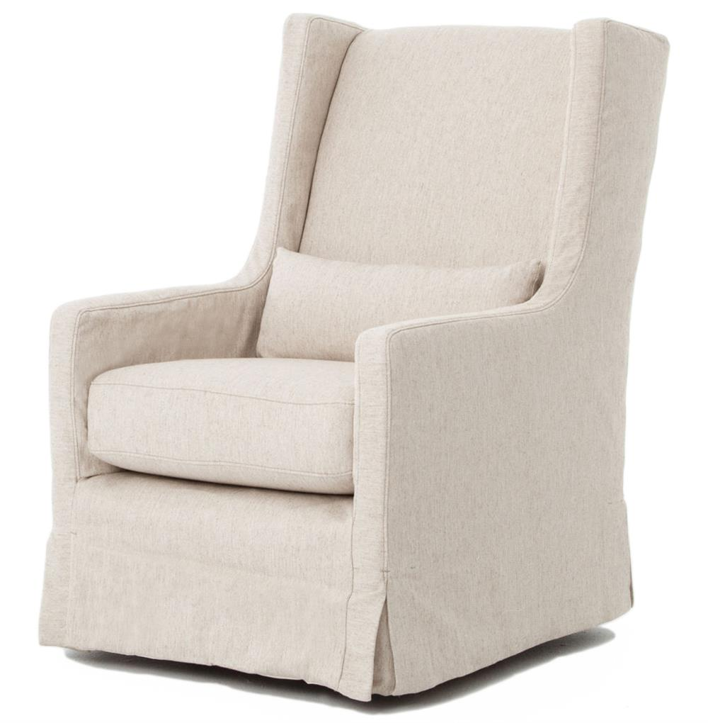 Arm Chairs Wilshire Modern Classic Slipcover Cream Linen Swivel Arm Chair
