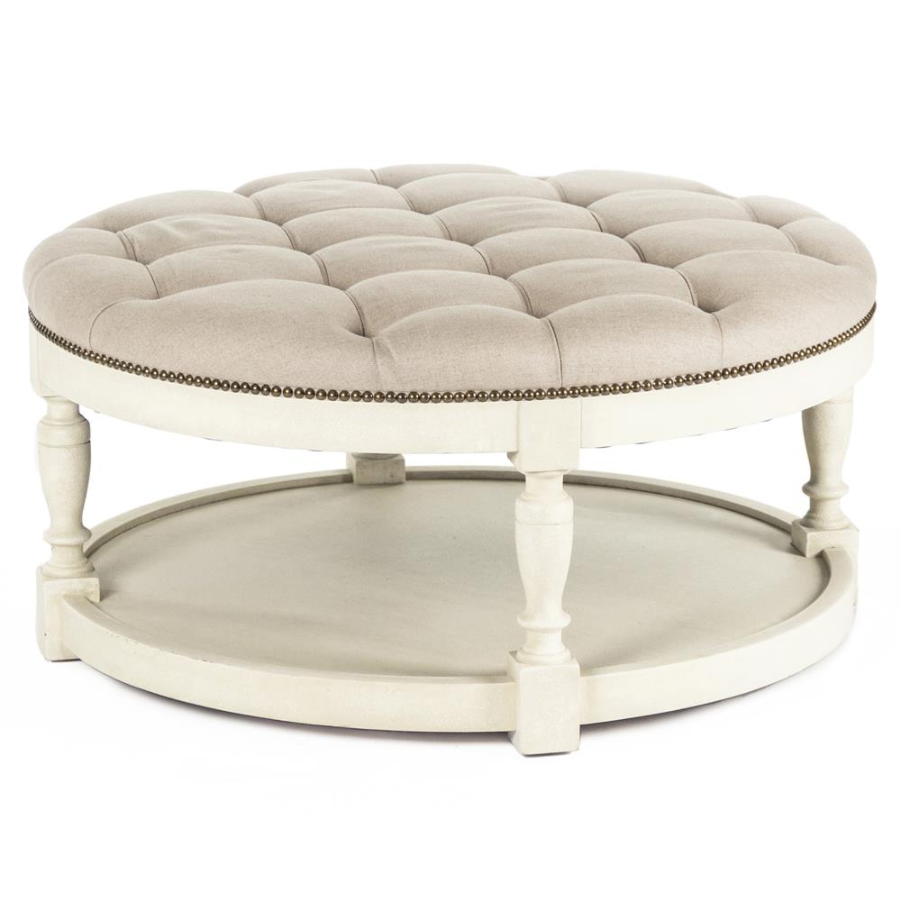 Ottoman Marseille French Country Cream Ivory Linen Round Tufted