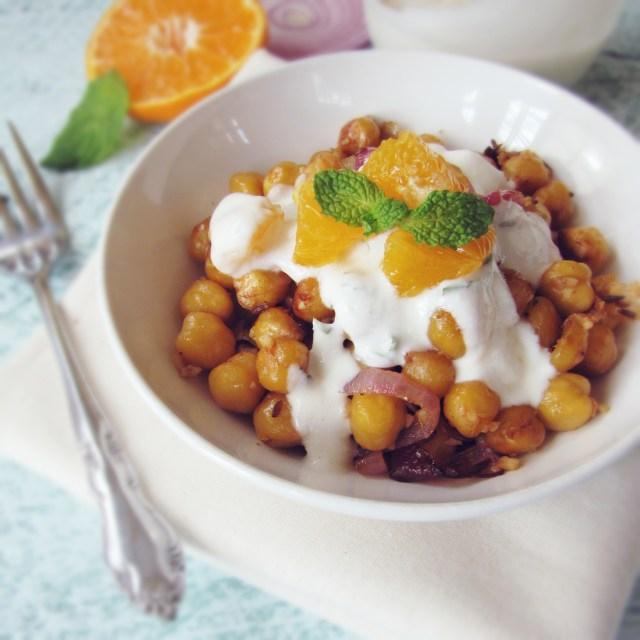 Fried Chickpeas with Orange-Mint-Yogurt Sauce | Katie at the Kitchen ...