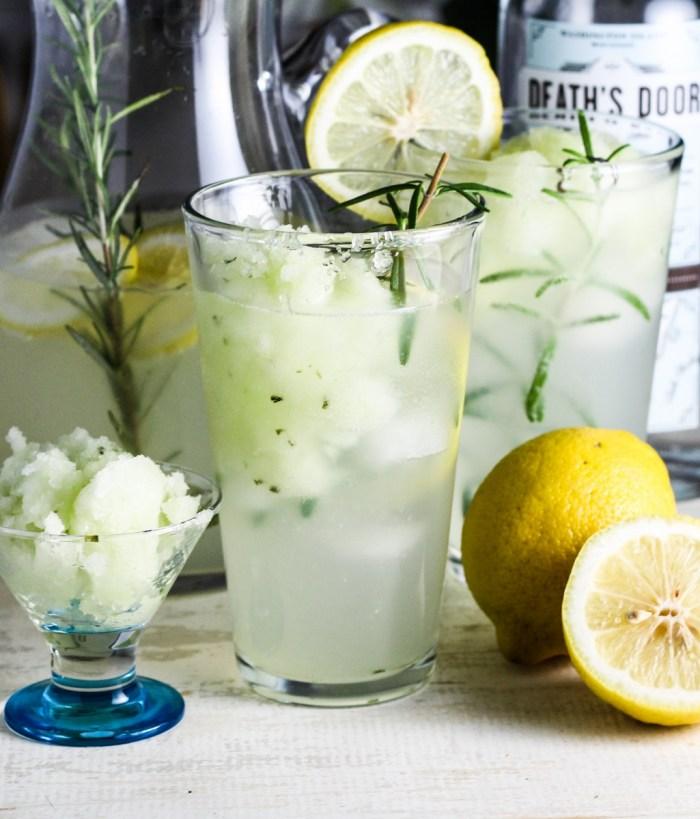 Lemon-Rosemary Gin Fizz with Cucumber Sorbet {Katie at the Kitchen Door}