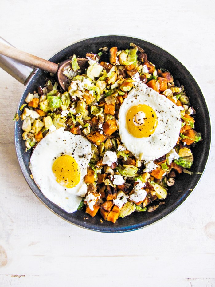Winter Cleanse 2014: Healthy Breakfast Recipes - Brussels Sprout and Sweet Potato Hash {Katie at the Kitchen Door}