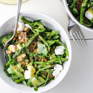 Warm Arugula Salad with Maple-Mustard Dressing {Katie at the Kitchen Door}